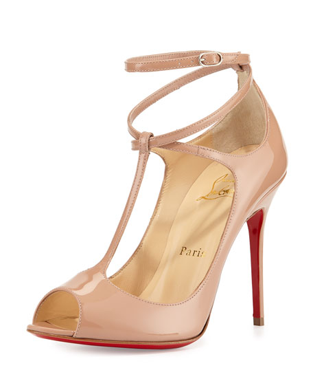 new style 97b13 2874f Talitha Patent T-Strap Red Sole Pump Nude