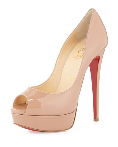 Lady Peep Patent Red Sole Pump, Nude