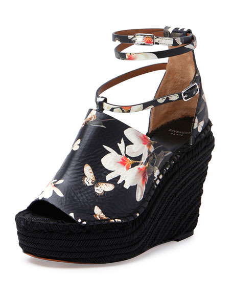 c0381e935ad Givenchy Floral-Print Wedge Sandal