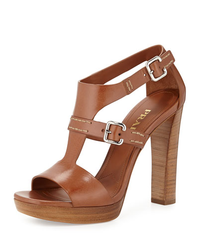 Leather T-Strap Sandal, Brandy