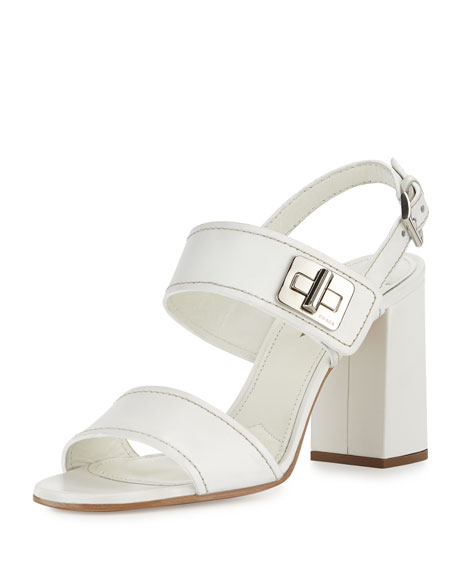 Prada Leather Turn-Lock Slingback Sandal