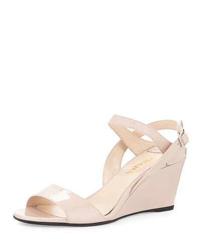 Patent Leather Wedge Sandal, Cipria