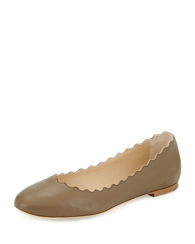 Scalloped Leather Ballerina Flat, Olive