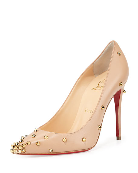 de43b6402aa Degraspike Studded Leather Red Sole Pump Nude/Gold
