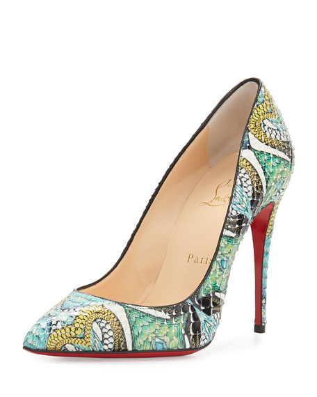 huge discount 94e77 83c69 Pigalle Follies Printed Python Red Sole Pump Multi