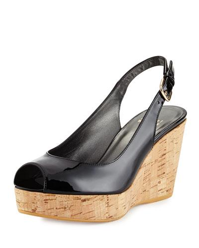 Jean Patent Leather Peep-Toe Wedge, Black
