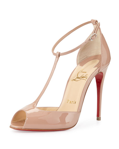 uk availability e9a0b 752cb Senora Patent T-Strap Red Sole Sandal Nude