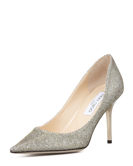 Jimmy Choo Agnes Lame Glitter Women Pointy Toe Pumps Light Bronze