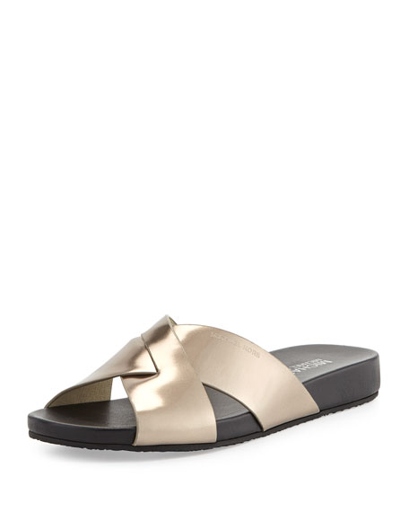 5a4b058e3992 MICHAEL Michael Kors Somerly Metallic Crisscross Slide Sandal
