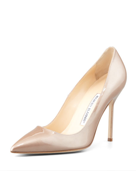 0d9bedbb2a2 Manolo Blahnik BB Point-Toe Metallic Patent Pump