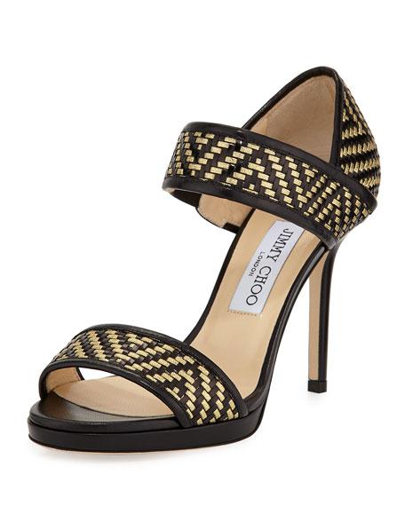 36e24782a74 Jimmy Choo Alana Metallic Woven Sandal