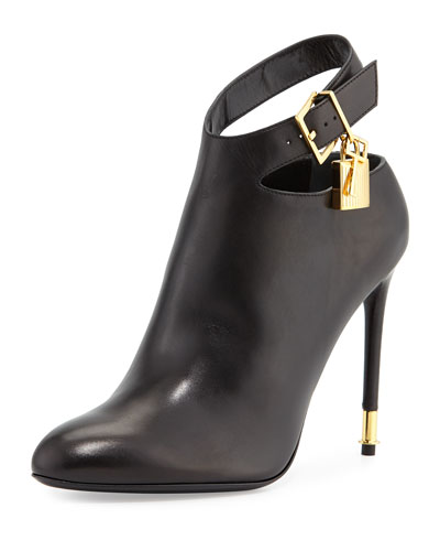 Leather Ankle-Strap Bootie, Black