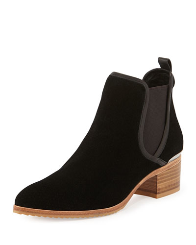 Diaz Perforated Suede Ankle Boot, Black