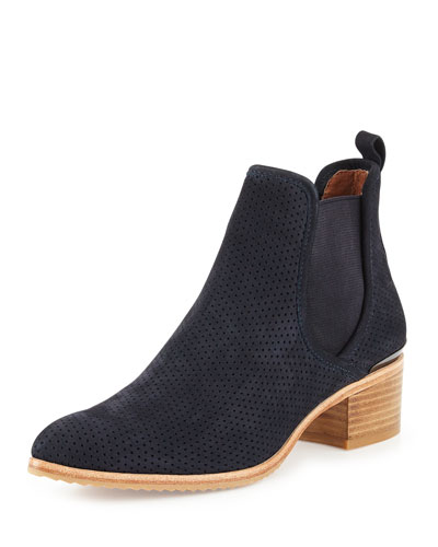 Diaz Perforated Suede Ankle Boot, Azul Navy