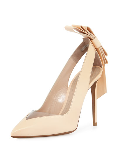 Origami Bow Point-Toe Pump, Nude