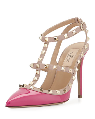 Rockstud Patent Leather Pump, Fuchsia/Powder