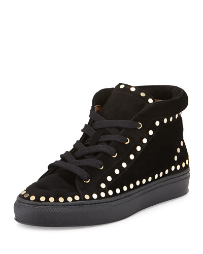 Hugh Studded High-Top Sneaker, Black/Golden