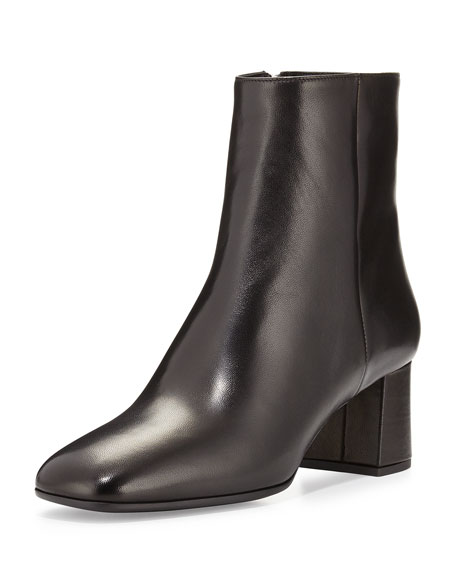 Prada Round-Toe Leather Ankle Boots newest for sale i0GII