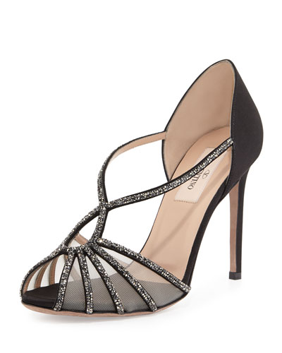 Crystal and Satin Evening Pump, Black