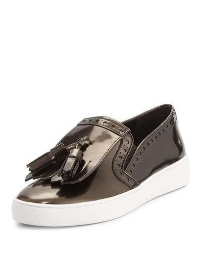 Vesey Brushed Metallic Loafer-Style Sneaker, Antique Silver