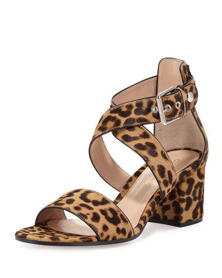 7d245e764d46 Gianvito Rossi Leopard-Print Calf-Hair Crisscross Sandal, Leopard/Black
