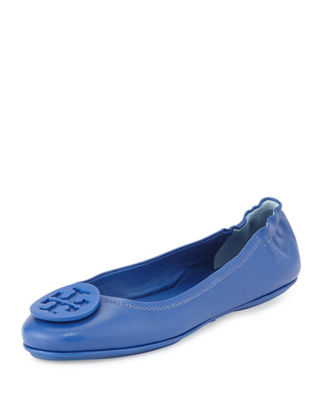 7733799713b Tory Burch Minnie Travel Logo Ballerina Flat, Jelly Blue