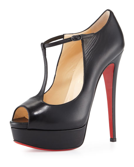 factory price 60a1a cca5f Altapoppins T-Strap Platform Red Sole Pump Black