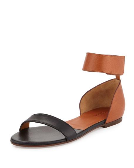 Chloe Two-Tone Leather Flat Sandal 67f2a9bd860