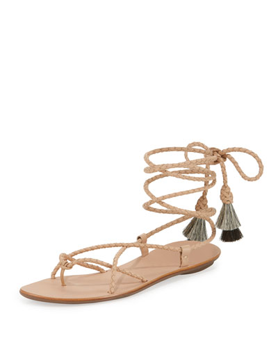 Braided Lace-Up Tassel Flat Sandal, Nude/Natural/Black