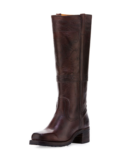 frye campus stitching horse knee boot walnut