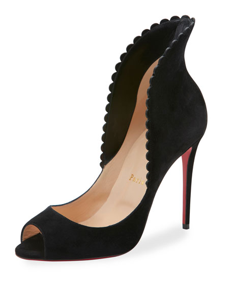 discount sale 9ea36 c1398 Pijonina Scalloped 100mm Red Sole Pump Black