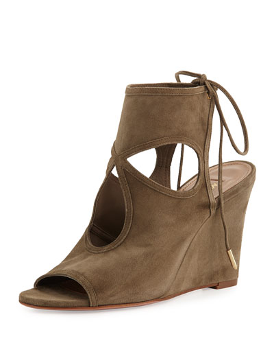 Sexy Thing Suede 85mm Wedge Sandal, Truffle