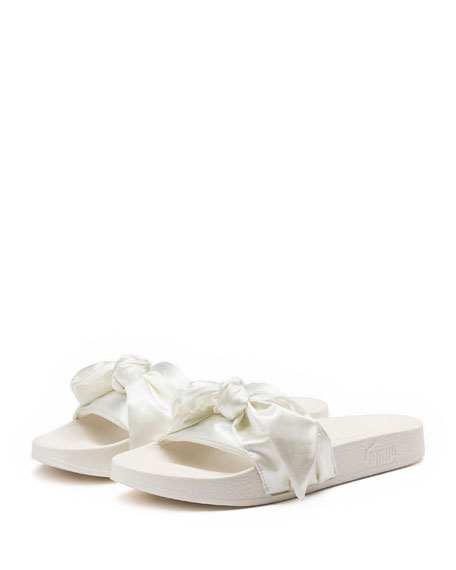 buy popular 70a41 56c80 Bow Satin Slide Sandal White