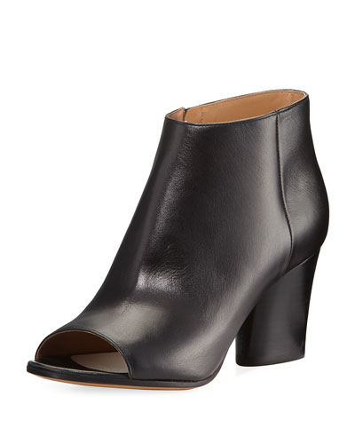 Narrow Peep-Toe Leather Bootie