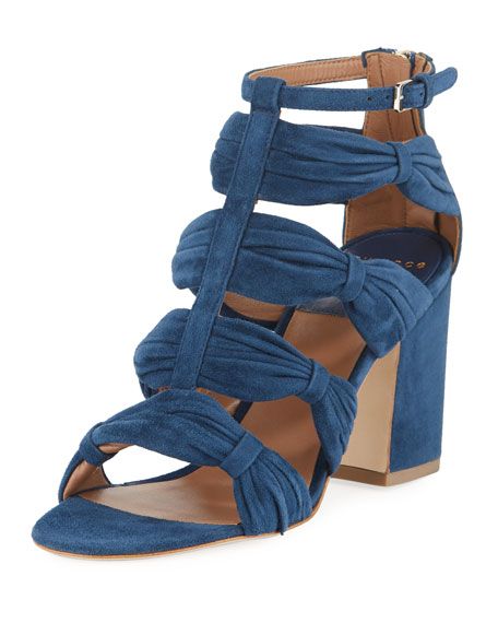 Laurence Dacade Rocky Ruched Suede T-Strap Sandal 5RfQdfxV