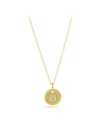 """B"" Pendant with Diamonds in Gold on Chain"