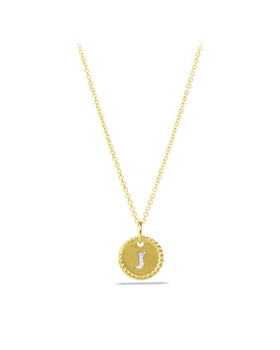 """J"" Pendant with Diamonds in Gold on Chain"