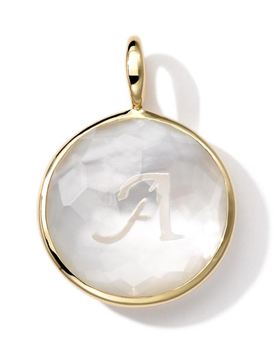 18k Gold Lollipop Letter Charm, Mother-of-Pearl Doublet