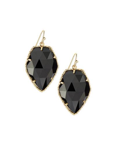 Corley Earrings, Black Glass