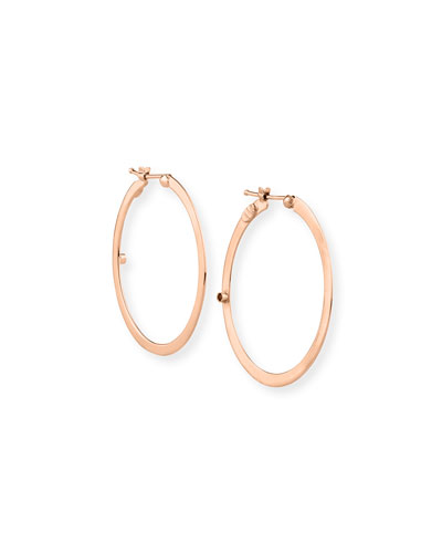 Flat 18k Rose Gold Hoop Earrings