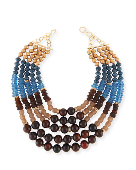 akola jewelry akola five strand beaded necklace blue brown 4547
