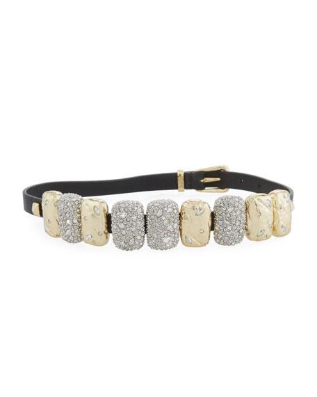 Alexis Bittar Rocky Crystal Leather Choker Wrap Bracelet DBH2Jjv