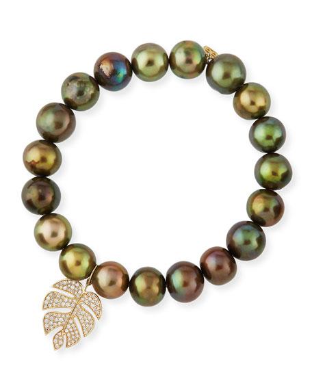 Sydney Evan Olive Pearl Beaded Bracelet with Diamond Monstera Leaf Charm zJ3aW5bRGA