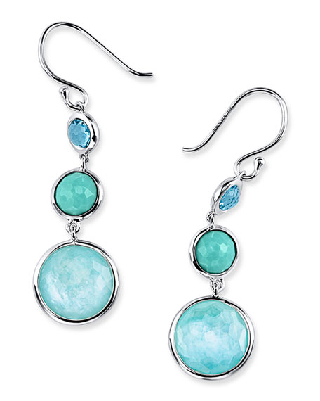 Ippolita Small Silver Lollitini Three-Stone Earrings in Eclipse