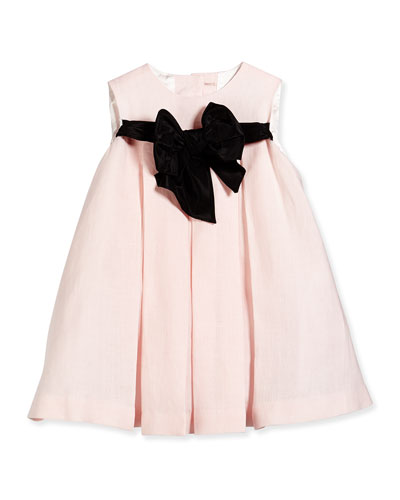 Pleated Dress with Contrast Bow, Pink/Black, Size 2-6X