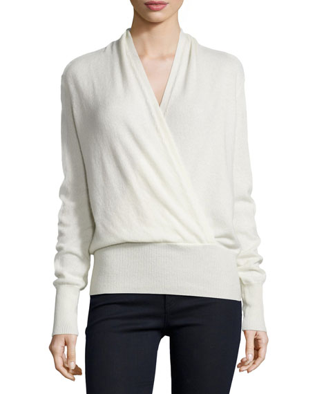 Neiman Marcus Cashmere Collection Faux-Wrap Cashmere Sweater