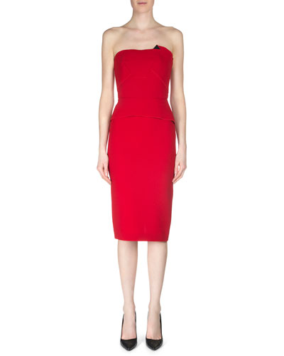 Cicada Strapless Wool Crepe Dress, Red