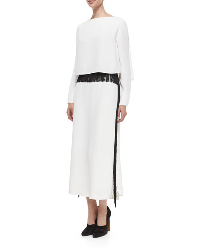 Long-Sleeve Column Gown w/Fringe Trim