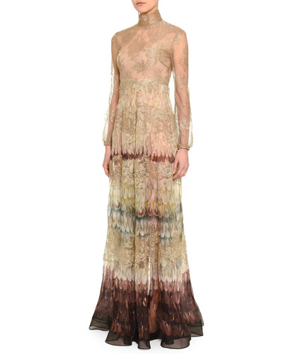 Angel Wings-Print Lace Gown