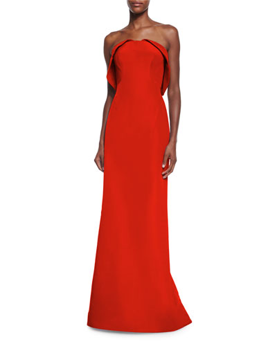 Strapless Layered Faille Gown